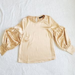 OnTwelfth/Satin Puff Sleeve Blouse / Size M